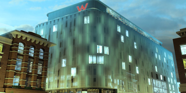 W London features a wraparound light installation by Jason Bruges