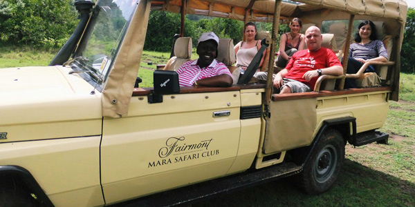 A group of agents try out the game drives at Mount Kenya Safari Club