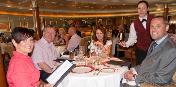 Denise eating on board Regent